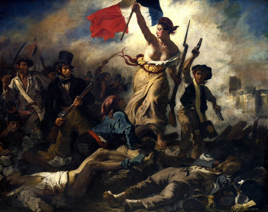 French Revolution painting showing a woman leading insurgents over a pile of bodies