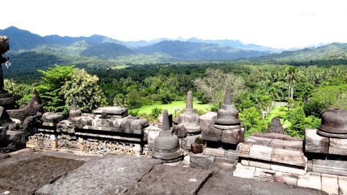 The view from the top of the temple is popular for sunrise visits
