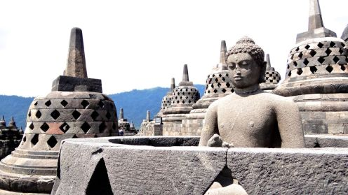 The most famous Bhudda of Borobodur, whose burial mound was found broken open