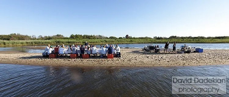 Dinner on a sandbar at the Walrus and Carpenter Oyster Farm in Ninigret Pond