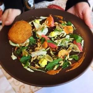 Chef Nemo Bolin's Scotch Egg presentation plate. Photo by Front Row Eats