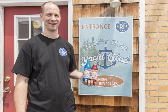 John Sgambato, owner of Yacht Club Bottling Works, with their Soda Pop Poll flavors