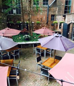 The patio at Mussel & Burger Bar on 7th St. | Photo courtesy of M&BB Facebook page