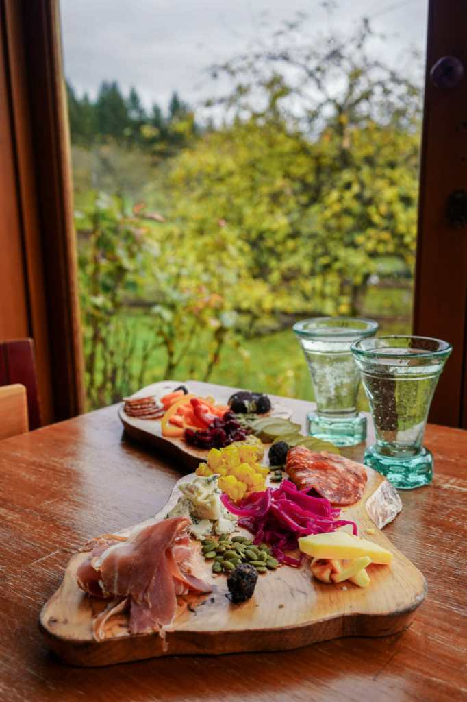 Charcuterie plate at Merridale Cider in Cowichan, BC