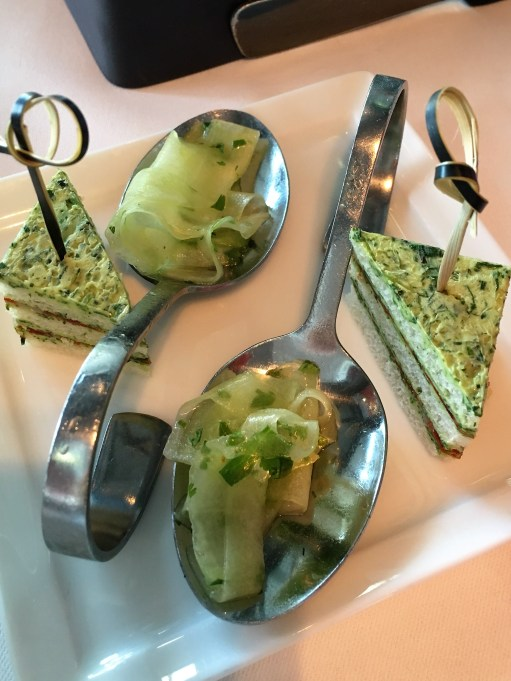 Les Flots -- Cucumber and Sandwiches amuse bouche