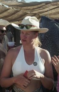 Harley K. DuBois wearing an Eat Fuck Kill button, 1997