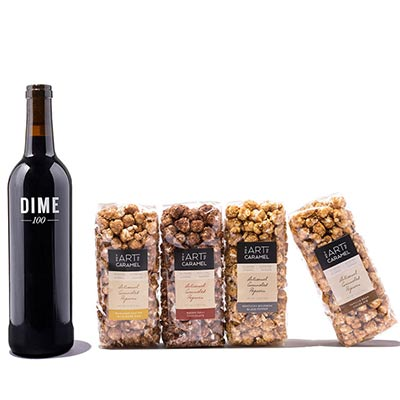 Wine Gift Basket paired with Caramel Corn