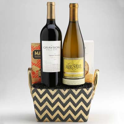 Wine Gift Basket with Red and White Wines from Wally's Wine in Los Angeles. ""