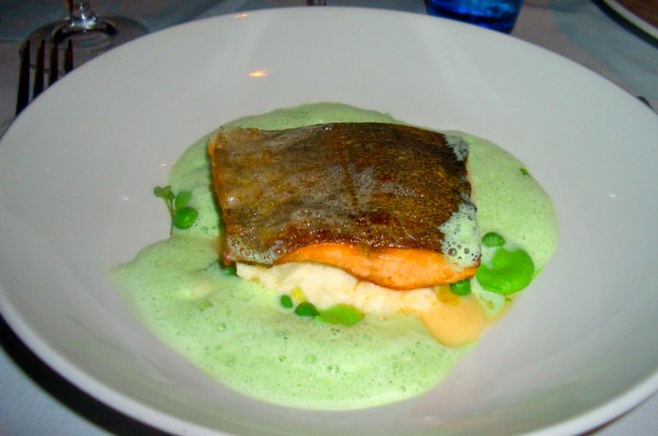 Fresh trout fillet in a beautiful foam of green