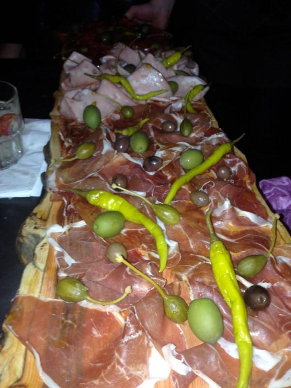 An amazing platter of ham, salami and mortadella