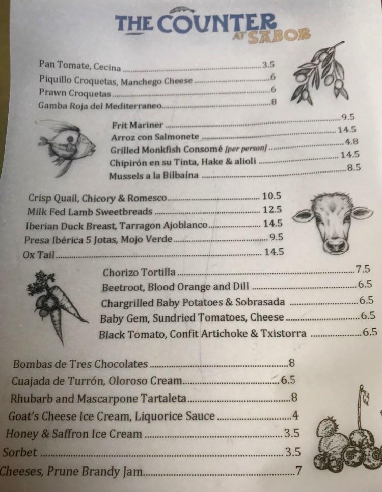 Sabor: menu