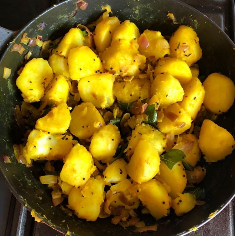 Sri Lanka: devilled potatoes