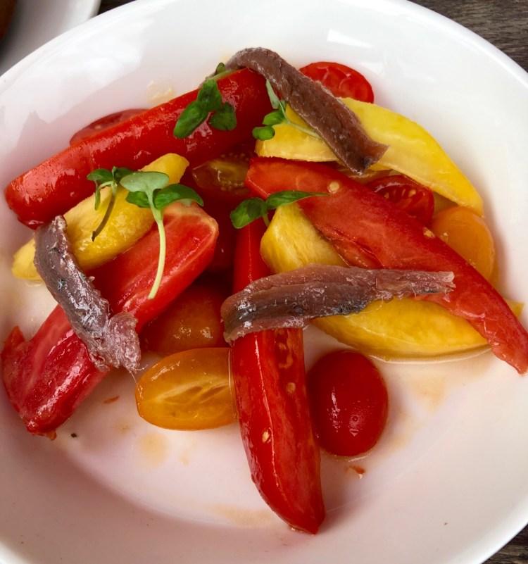 Brindisa: peach and tomato salad