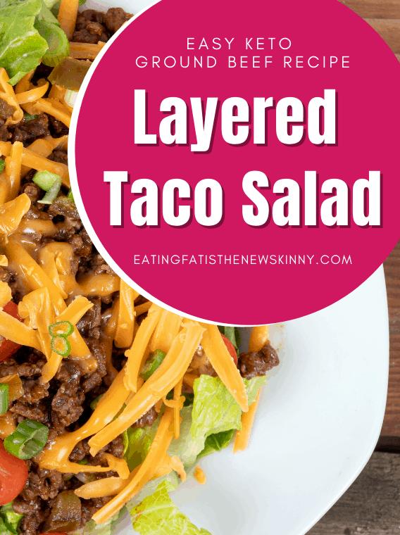 keto taco salad pin on a white plate