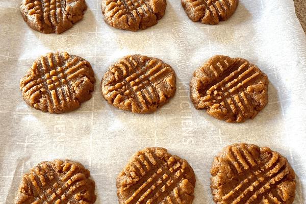 peanut butter cookie dough flattened
