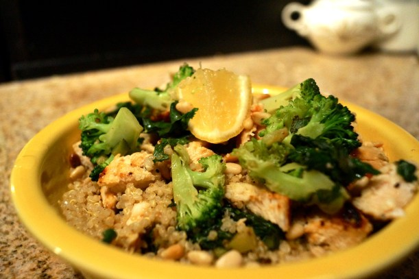 Chicken and Toasted Quinoa Bowl with Garlic-Sauteed Vegetables