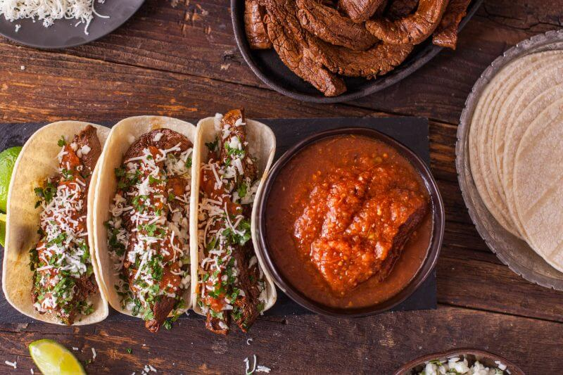 Taco Recipes Carne Asada Tacos Flank Steak Onions Cilantro Homemade Salsa