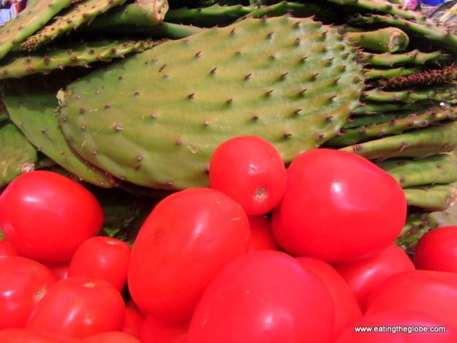 "Tomatoes and Nopales at Tuesday Market/""El Tianguis"""