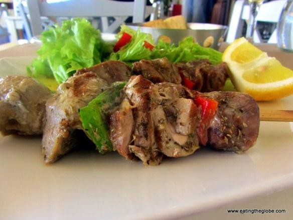 Tuna Souvlaki at Glossitses restaurant in Chania