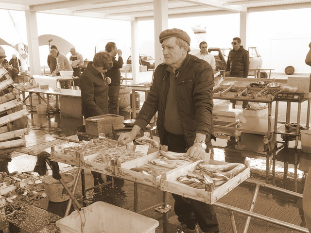 Grumpy man selling fish at Trapani fish market