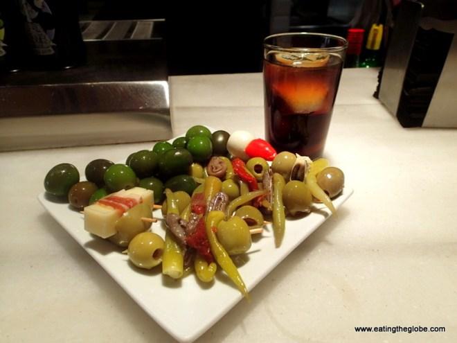 Food in Spain Olives at Mercade de San Miguel Madrid food