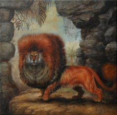 LION FANTASTIC OLD PAINTING