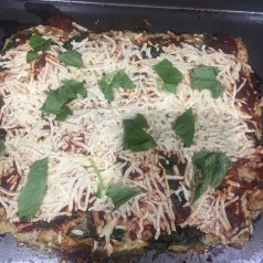 Add vegan cheese and basil and bake again for another 20 minutes.