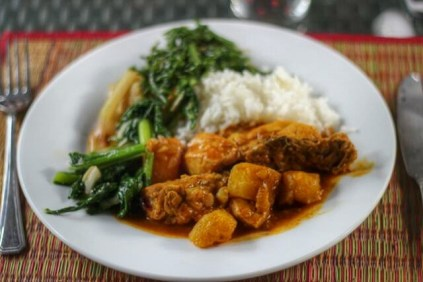 Brunei chicken curry, with river ferns and young papaya