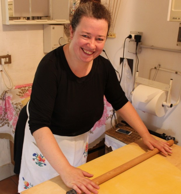 Hand rolling the pasta in Anna's kitchen. now my new favourite thing!