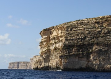 The Gozo cliffs, and the striking blue water
