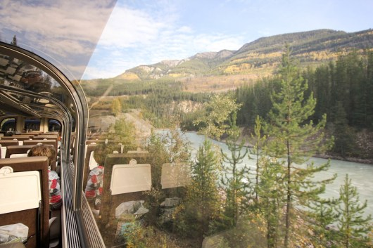 Passing through the Rockies and observing from the Rocky Mountaineer gold leaf viewing car