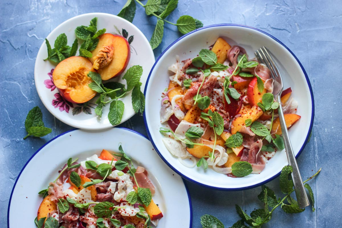 Bream Ceviche with Parma Ham and Nectarines - Eat Like a Girl