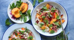 Bream Ceviche with Parma Ham and Nectarines