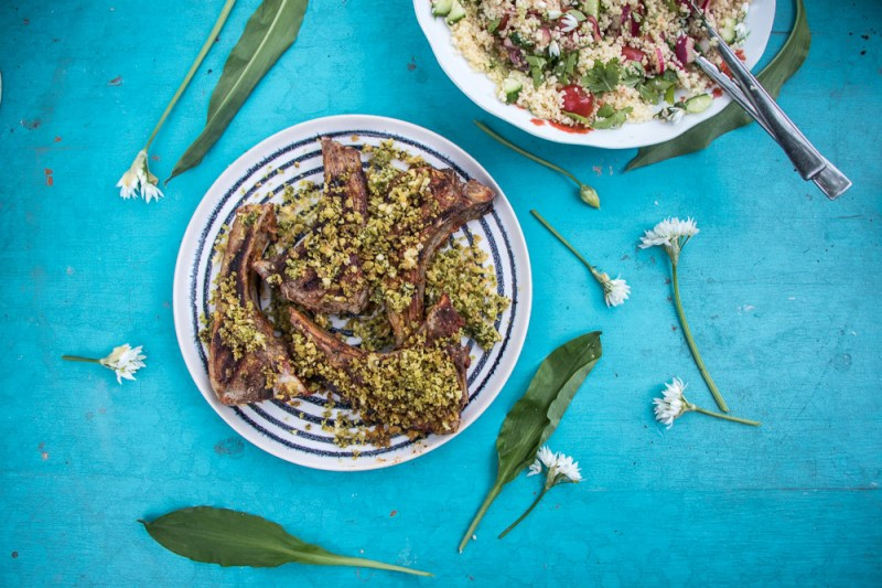 Harissa Lamb Chops with Wild Garlic Crumb and Cous Cous