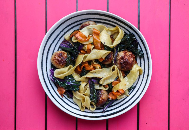 Handmade Papardelle with Sausage Meatballs, Kale & Carrot