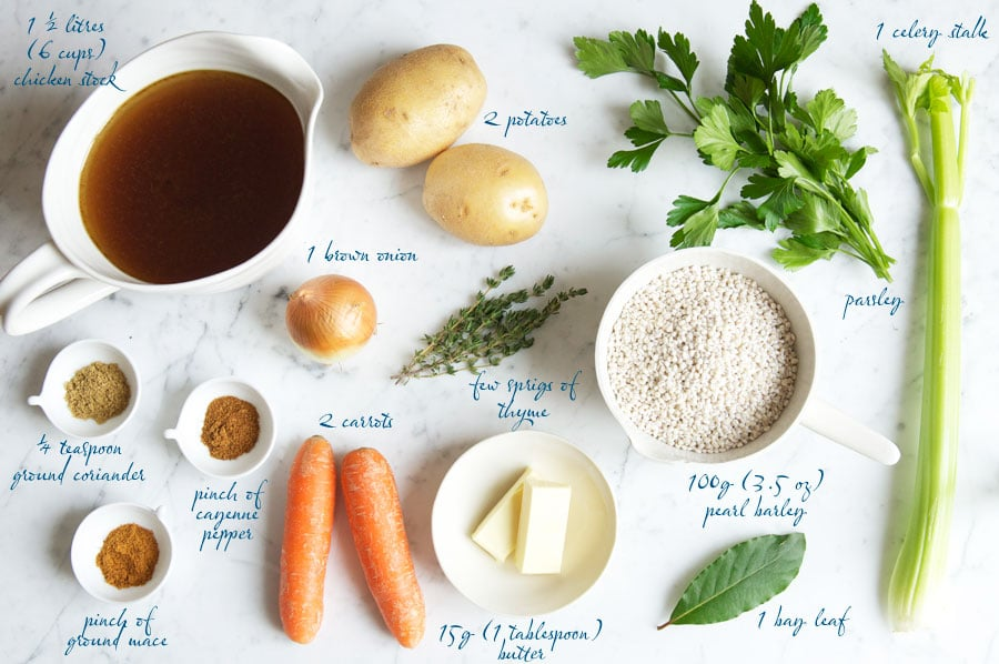 ingredients for vegetable barley soup