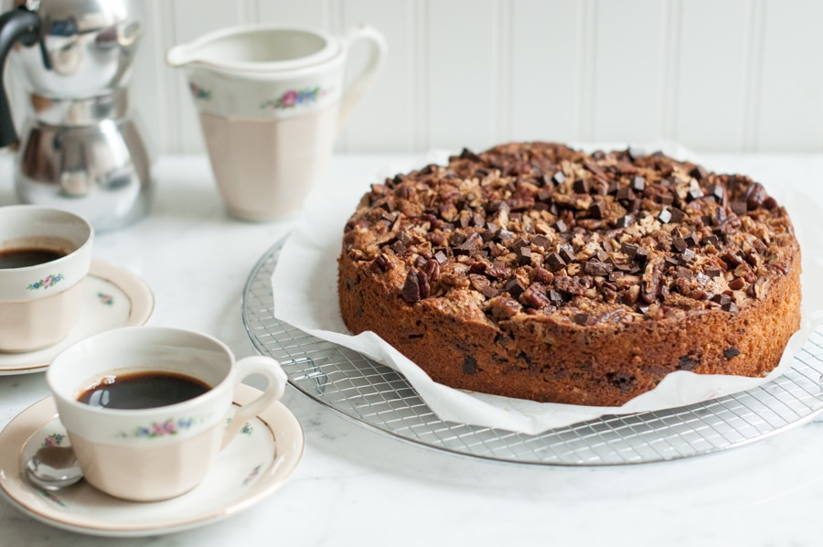 pecan spiced cake on wire rack