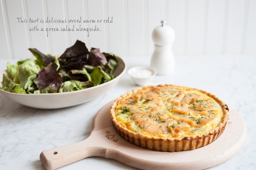 smoked salmon potato dill tart with pepper grinder