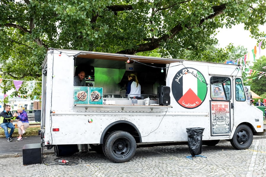 {The Palestine Grill was one of the most popular food trucks at the festival.}
