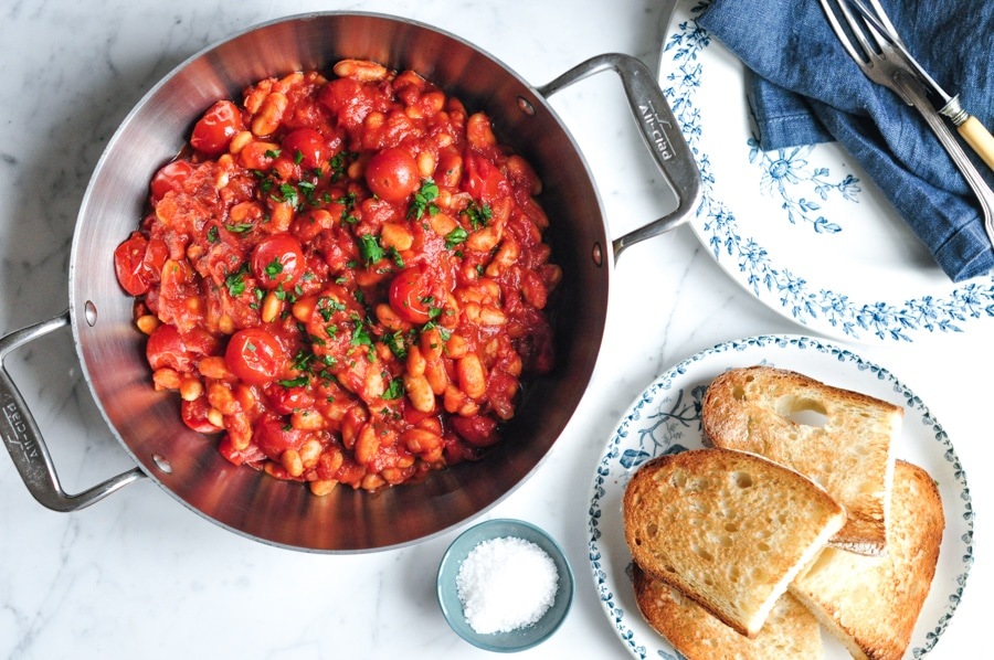 spicy baked beans in saucepan