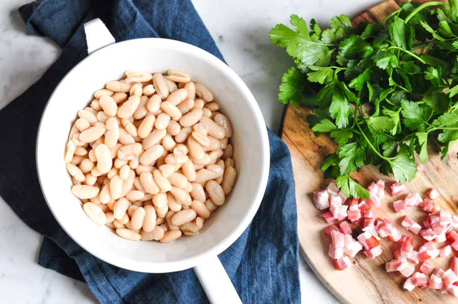 cannellini beans in colander