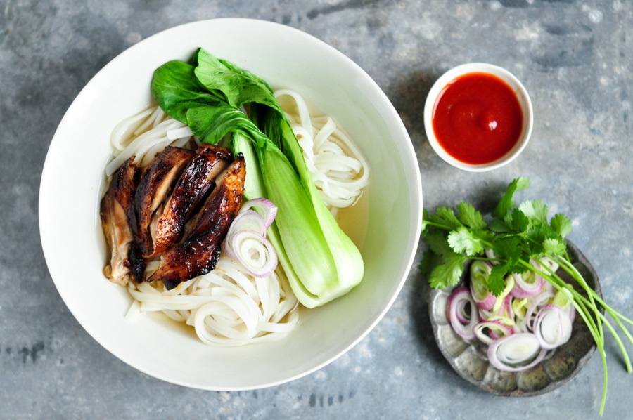 sticky chicken pho with bok choy in bowl