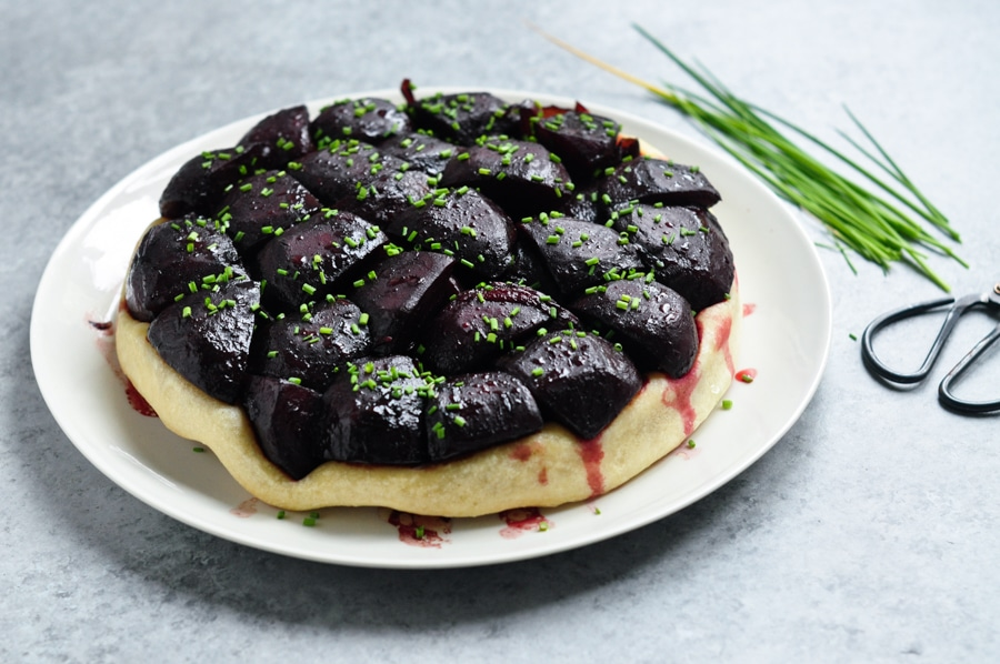 beetroot tarte tatin with garden scissors
