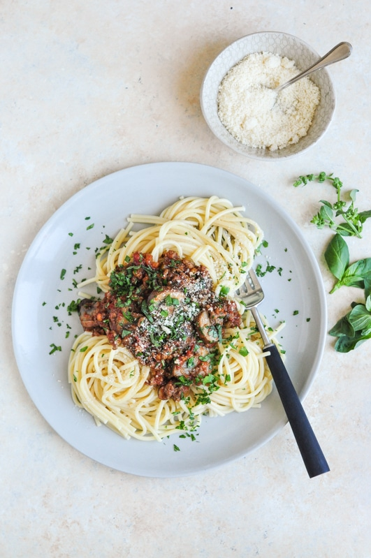 vietnamese spaghetti bolognese with bowl of cheese