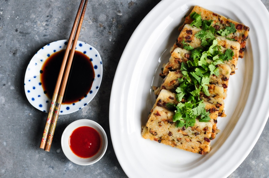 chinese turnip cake on white plate