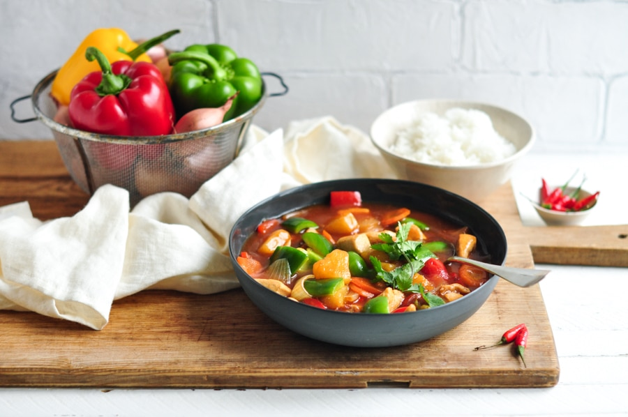 easy sweet sour chicken in bowl