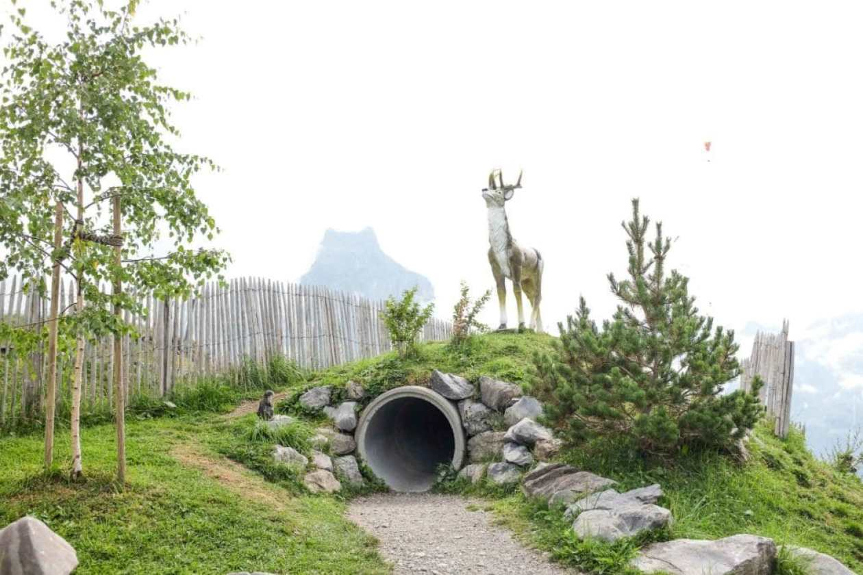 small tunnel at playground at brunni engelberg