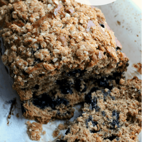 This moist, delightful, blueberry banana bread has a sweet crumbly streusel topping!