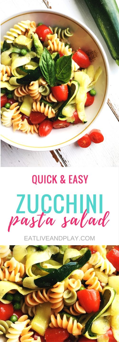 Pasta salads are a must for any summer picnic and zucchini takes center stage in this easy summer salad. If you're watching your weight zucchini helps manage cravings, and also bulks up meals without added fat and calories and are high in fiber which will boost your metabolism.