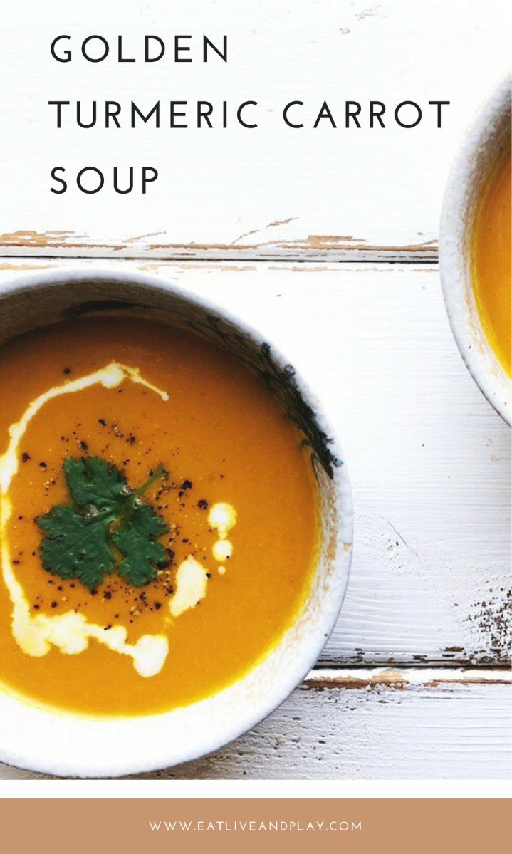 This Golden Turmeric Carrot soup will help your body to adjust to the changing climate, boost your immune system and provide your body + brain with more nutrients.